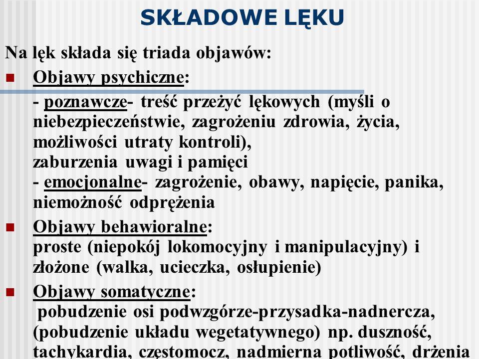 SKŁADOWE LĘKU Na lęk składa się triada objawów: Objawy psychiczne: