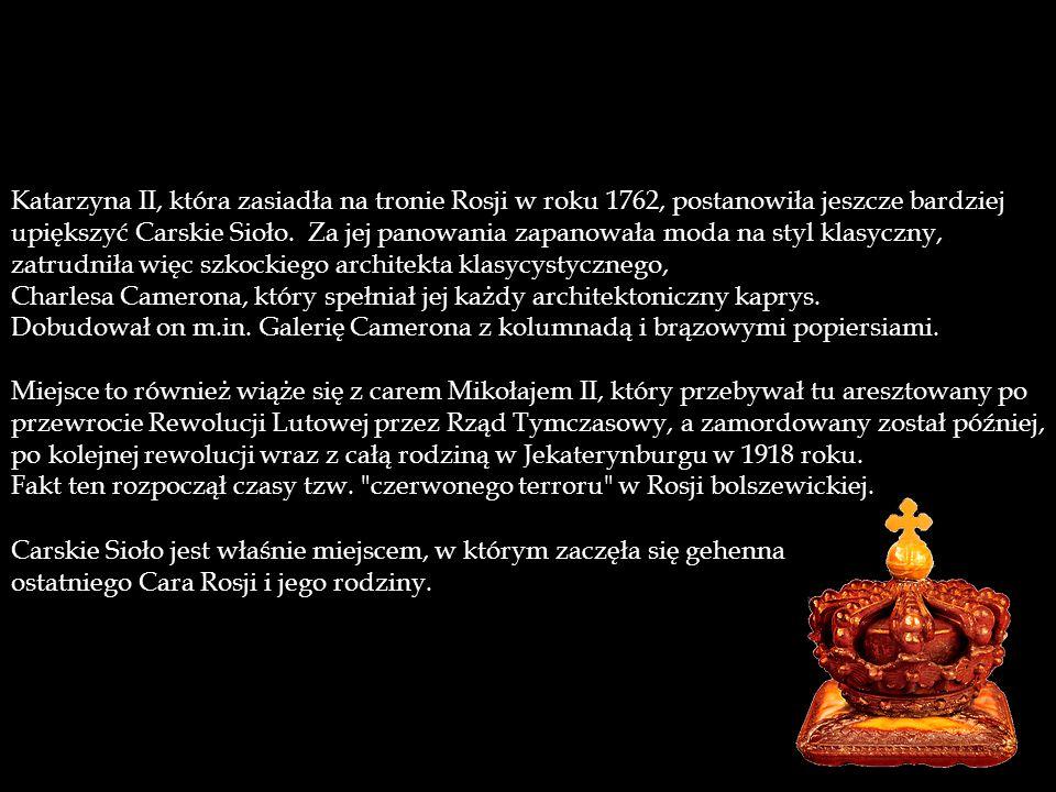 Katarzyna II, która zasiadła na tronie Rosji w roku 1762, postanowiła jeszcze bardziej