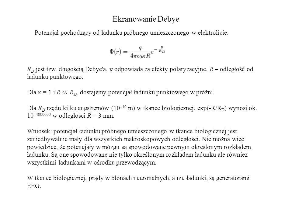 Ekranowanie Debye Potencjał pochodzący od ładunku próbnego umieszczonego w elektrolicie:
