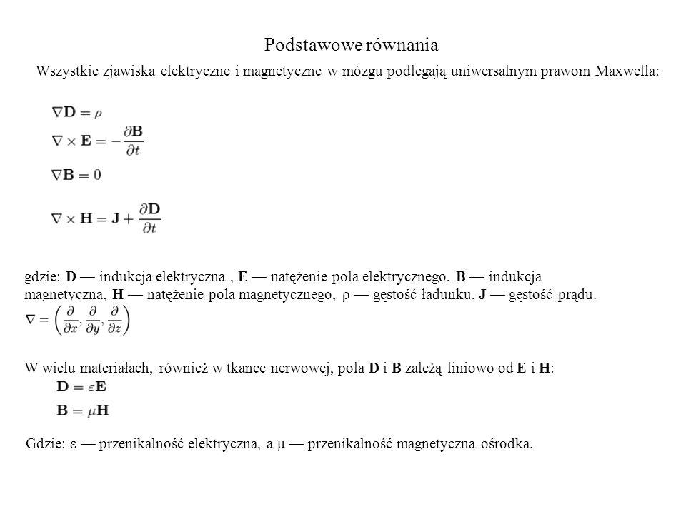 Podstawowe równania Wszystkie zjawiska elektryczne i magnetyczne w mózgu podlegają uniwersalnym prawom Maxwella: