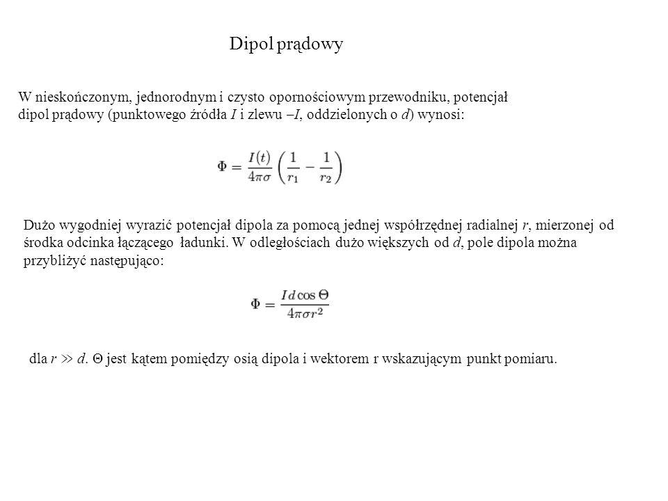 Dipol prądowy W nieskończonym, jednorodnym i czysto opornościowym przewodniku, potencjał.