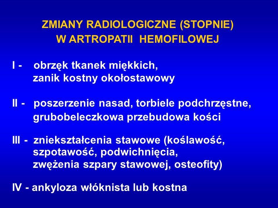 ZMIANY RADIOLOGICZNE (STOPNIE) W ARTROPATII HEMOFILOWEJ