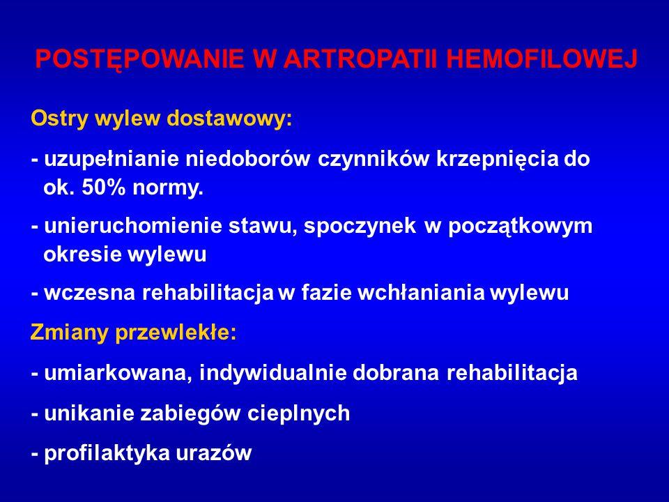 POSTĘPOWANIE W ARTROPATII HEMOFILOWEJ