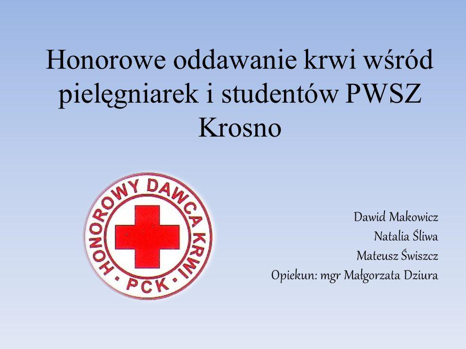 Honorowe oddawanie krwi wśród pielęgniarek i studentów PWSZ Krosno