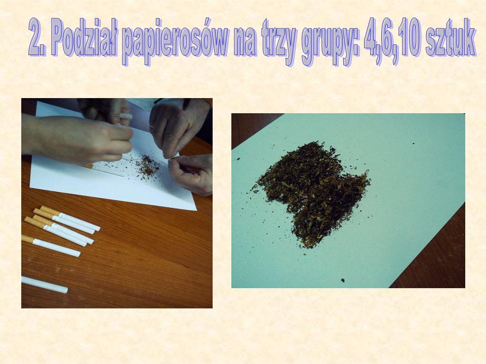 2. Podział papierosów na trzy grupy: 4,6,10 sztuk