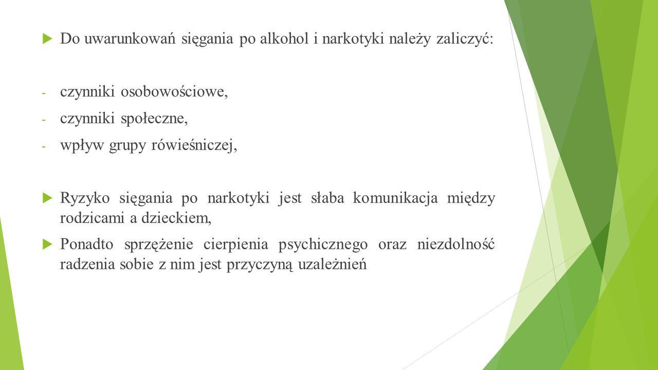 Do uwarunkowań sięgania po alkohol i narkotyki należy zaliczyć: