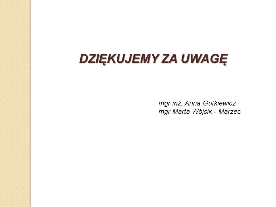 DZIĘKUJEMY ZA UWAGĘ mgr inż. Anna Gutkiewicz mgr Marta Wójcik - Marzec