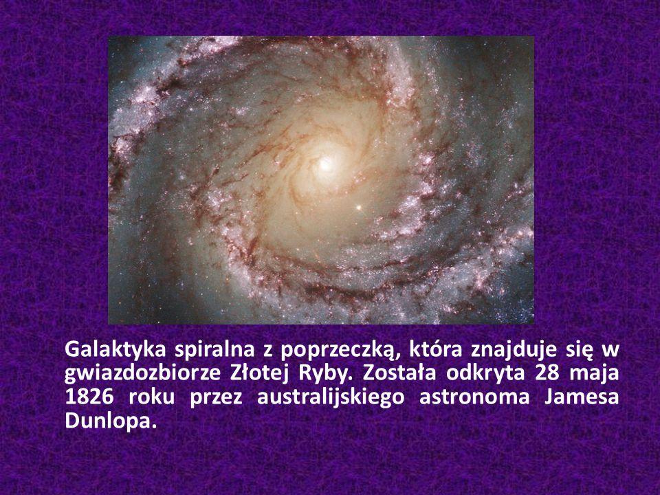 Galaktyka spiralna z poprzeczką, która znajduje się w gwiazdozbiorze Złotej Ryby.