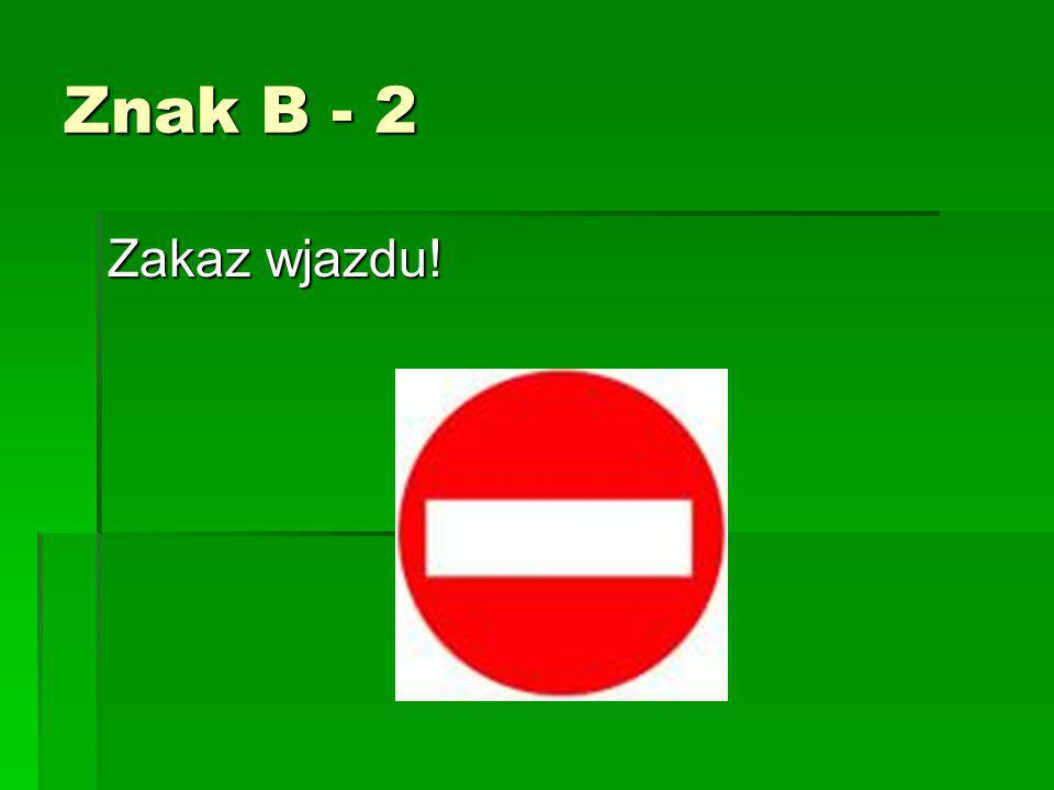 Znak B - 2 Zakaz wjazdu!