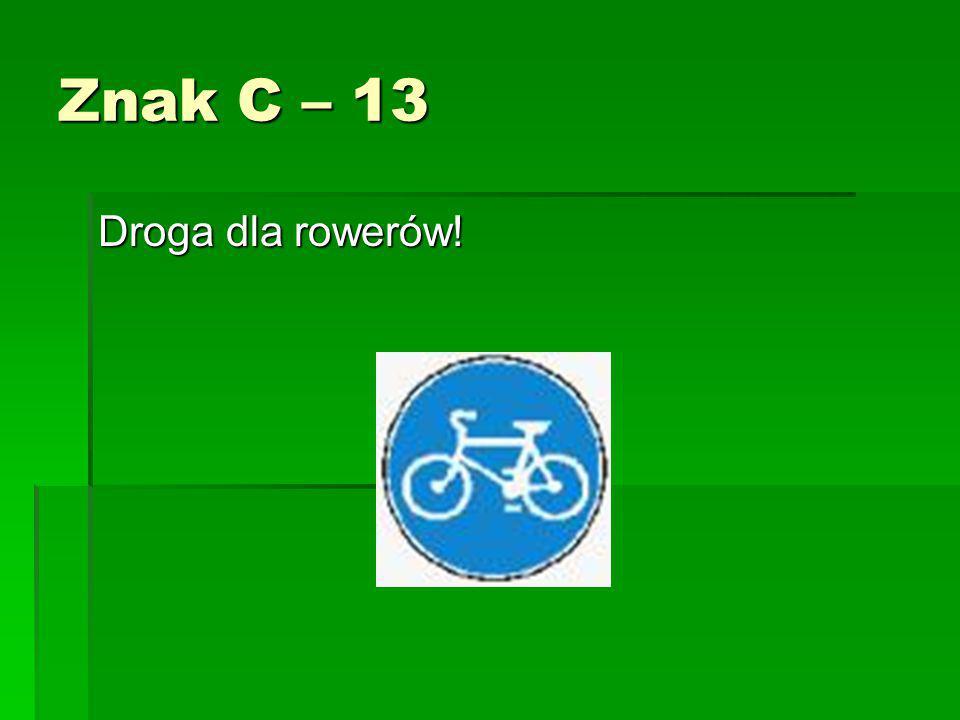 Znak C – 13 Droga dla rowerów!