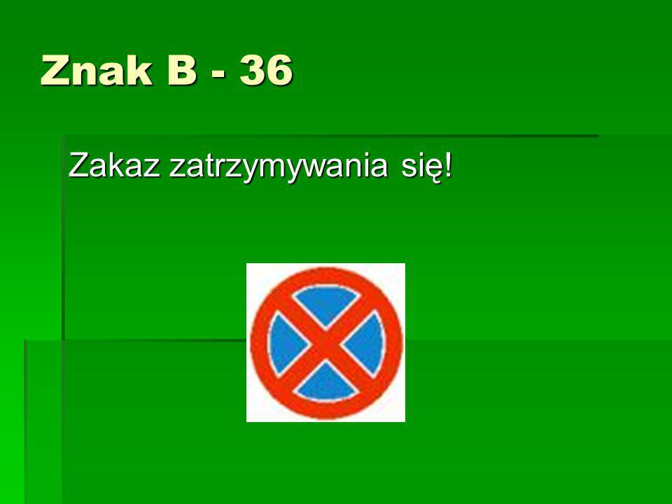 Znak B - 36 Zakaz zatrzymywania się!