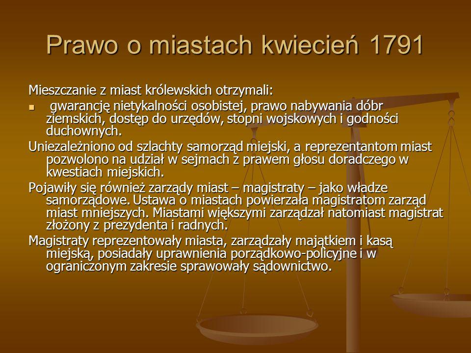 Prawo o miastach kwiecień 1791