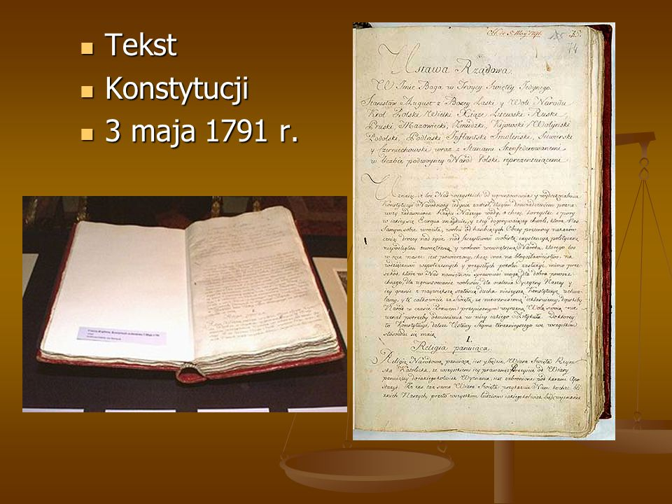 Tekst Konstytucji 3 maja 1791 r.