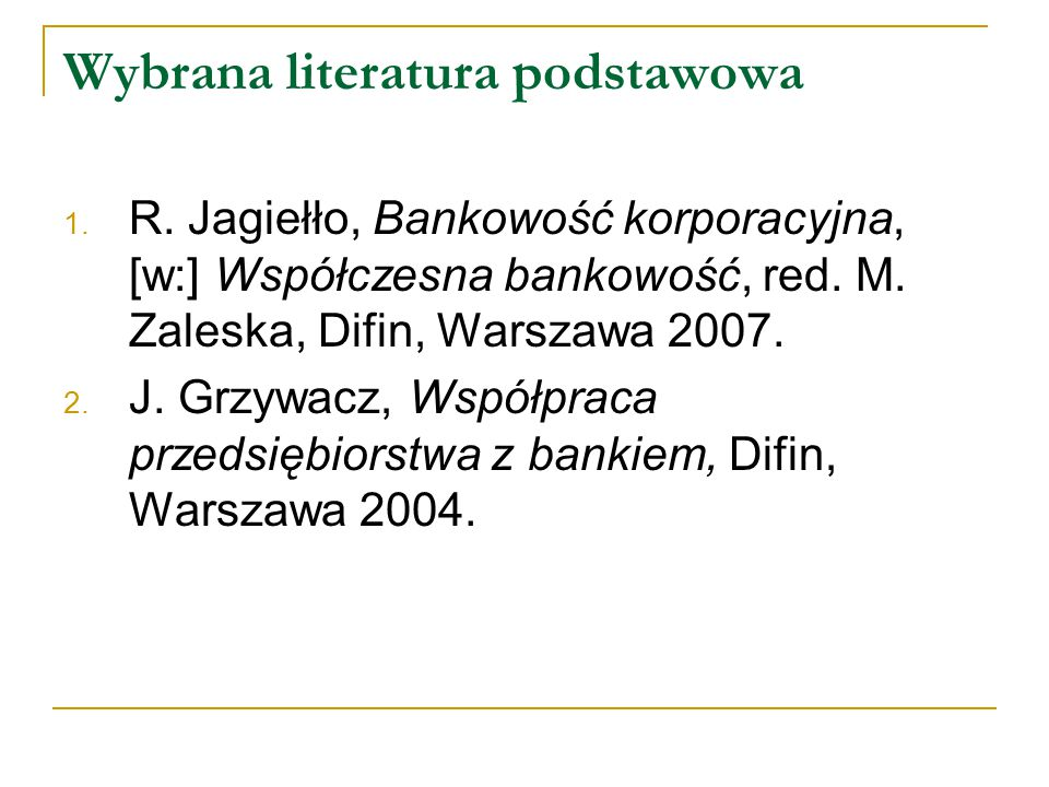 Wybrana literatura podstawowa