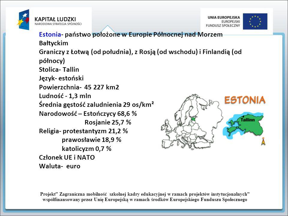 Estonia- państwo położone w Europie Północnej nad Morzem Bałtyckim