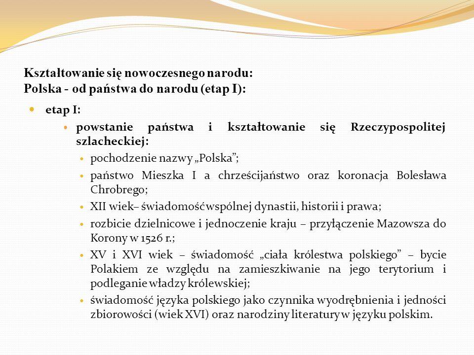 Kształtowanie się nowoczesnego narodu: Polska - od państwa do narodu (etap I):