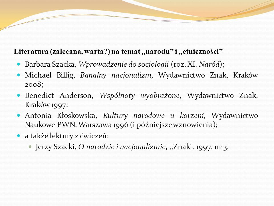 """Literatura (zalecana, warta ) na temat """"narodu i """"etniczności"""