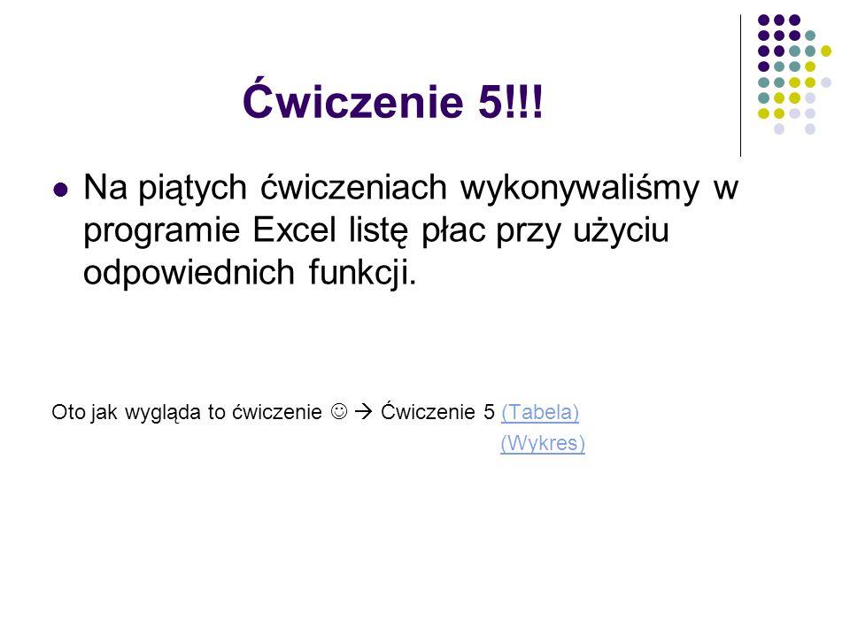 Ćwiczenie 5!!! Na piątych ćwiczeniach wykonywaliśmy w programie Excel listę płac przy użyciu odpowiednich funkcji.