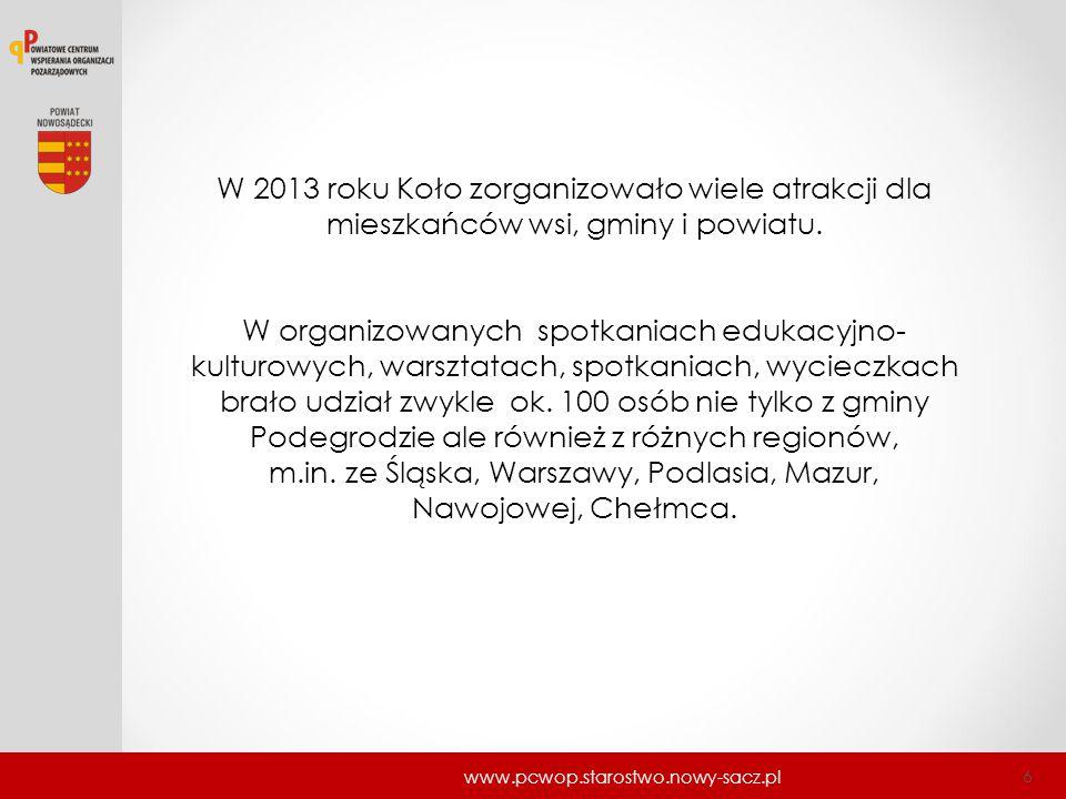 W 2013 roku Koło zorganizowało wiele atrakcji dla mieszkańców wsi, gminy i powiatu.
