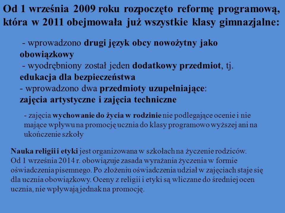 Od 1 września 2009 roku rozpoczęto reformę programową, która w 2011 obejmowała już wszystkie klasy gimnazjalne: