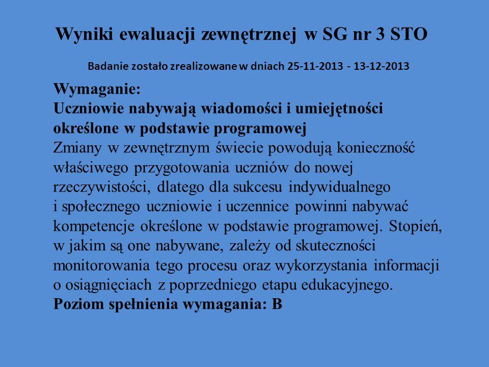 Wyniki ewaluacji zewnętrznej w SG nr 3 STO