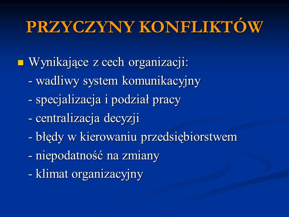 PRZYCZYNY KONFLIKTÓW Wynikające z cech organizacji: