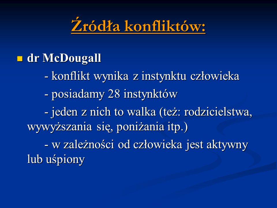 Źródła konfliktów: dr McDougall