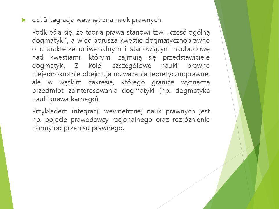 c.d. Integracja wewnętrzna nauk prawnych