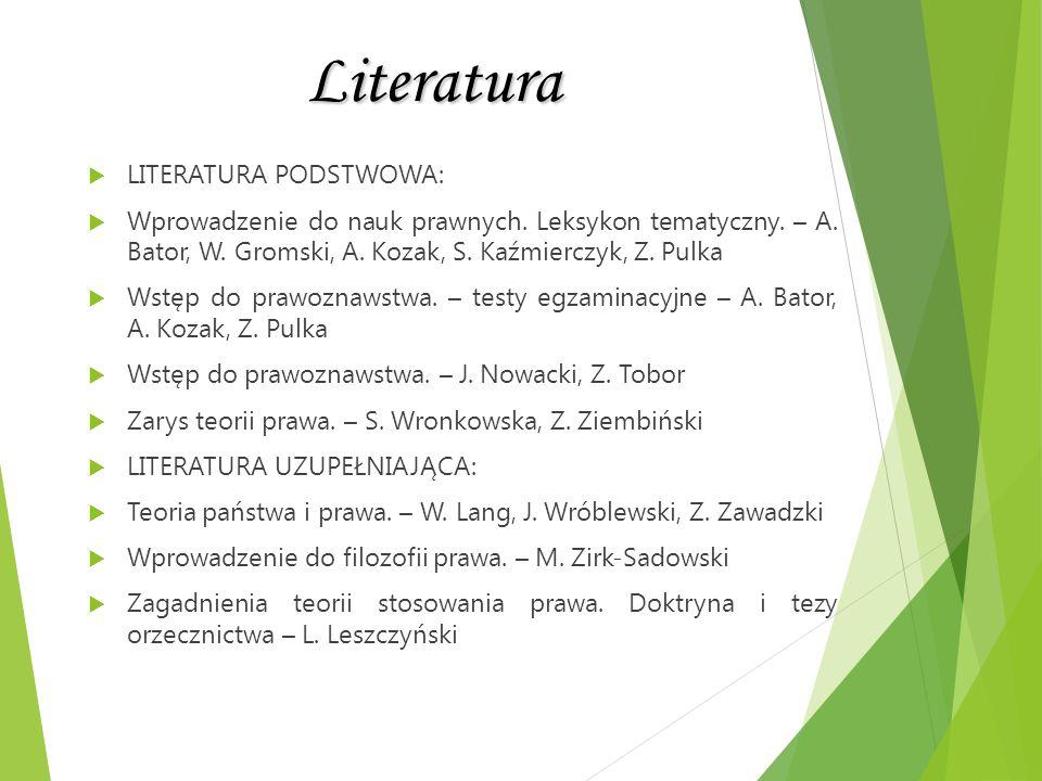 Literatura LITERATURA PODSTWOWA: