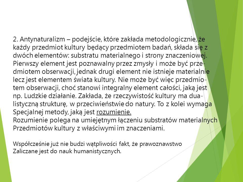 2. Antynaturalizm – podejście, które zakłada metodologicznie, że