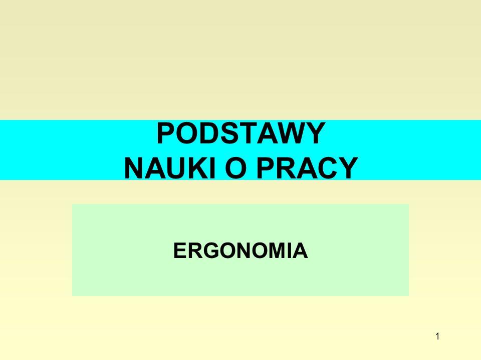 PODSTAWY NAUKI O PRACY ERGONOMIA