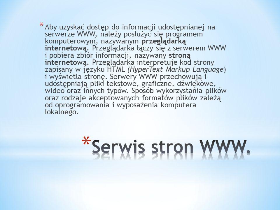 Aby uzyskać dostęp do informacji udostępnianej na serwerze WWW, należy posłużyć się programem komputerowym, nazywanym przeglądarką internetową. Przeglądarka łączy się z serwerem WWW i pobiera zbiór informacji, nazywany stroną internetową. Przeglądarka interpretuje kod strony zapisany w języku HTML (HyperText Markup Language) i wyświetla stronę. Serwery WWW przechowują i udostępniają pliki tekstowe, graficzne, dźwiękowe, wideo oraz innych typów. Sposób wykorzystania plików oraz rodzaje akceptowanych formatów plików zależą od oprogramowania i wyposażenia komputera lokalnego.