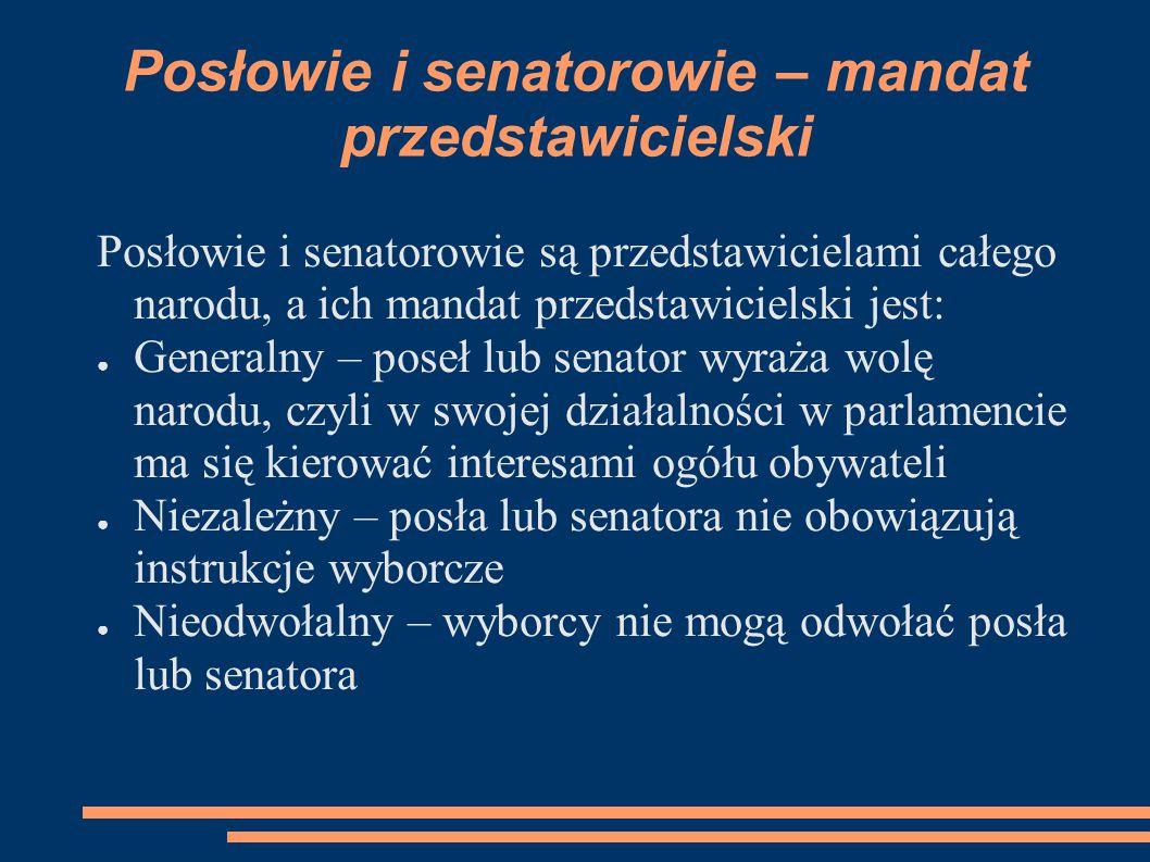 Posłowie i senatorowie – mandat przedstawicielski