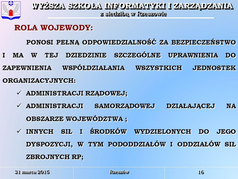 ROLA WOJEWODY: