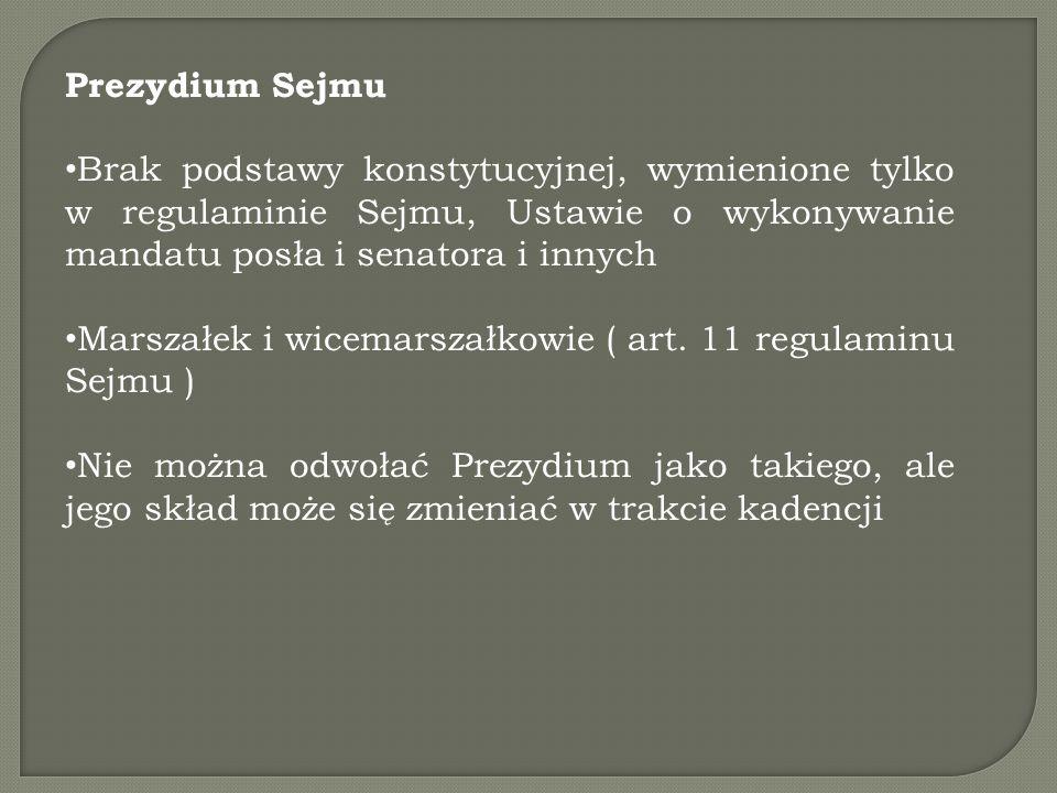 Prezydium Sejmu Brak podstawy konstytucyjnej, wymienione tylko w regulaminie Sejmu, Ustawie o wykonywanie mandatu posła i senatora i innych.