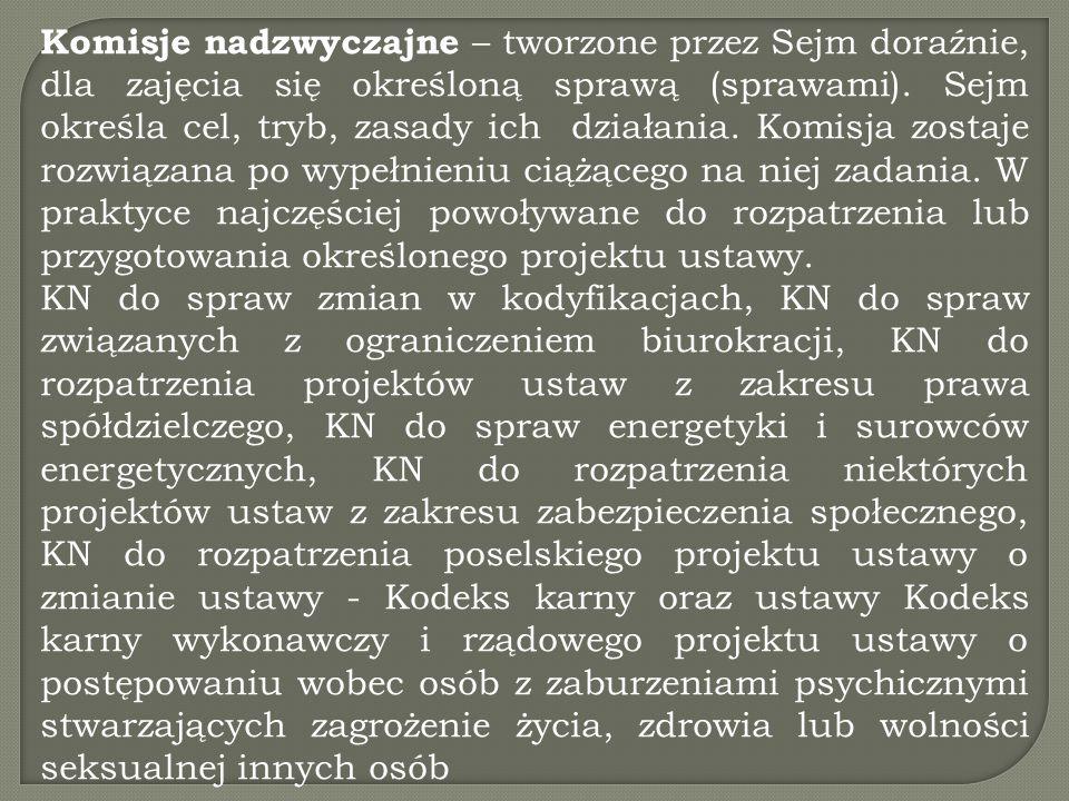 Komisje nadzwyczajne – tworzone przez Sejm doraźnie, dla zajęcia się określoną sprawą (sprawami). Sejm określa cel, tryb, zasady ich działania. Komisja zostaje rozwiązana po wypełnieniu ciążącego na niej zadania. W praktyce najczęściej powoływane do rozpatrzenia lub przygotowania określonego projektu ustawy.