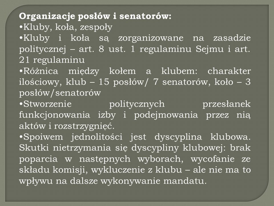 Organizacje posłów i senatorów:
