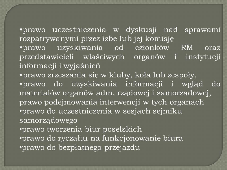 prawo uczestniczenia w dyskusji nad sprawami rozpatrywanymi przez izbę lub jej komisję