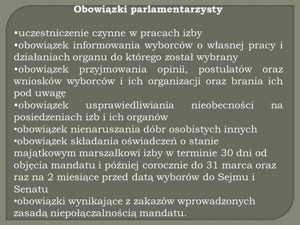 Obowiązki parlamentarzysty