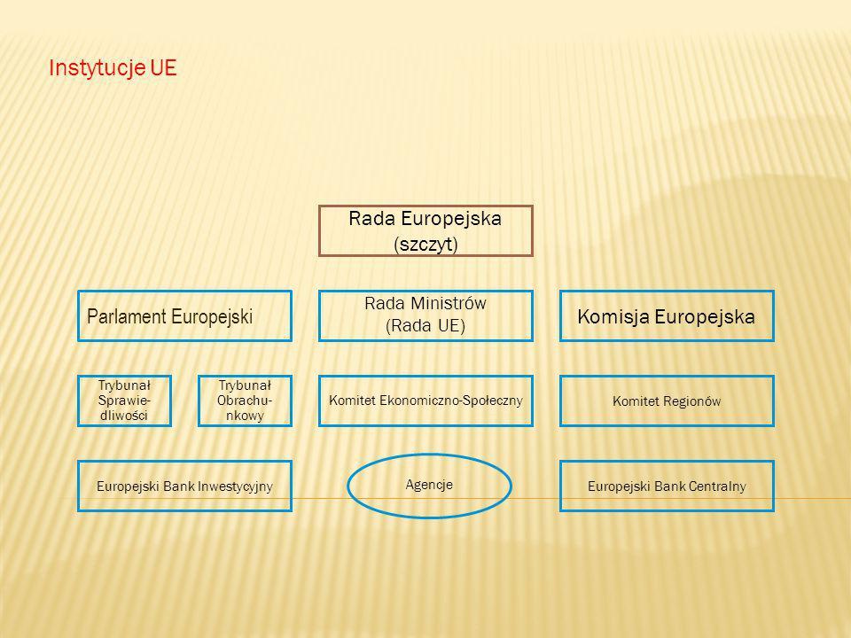 Instytucje UE Rada Europejska (szczyt) Parlament Europejski