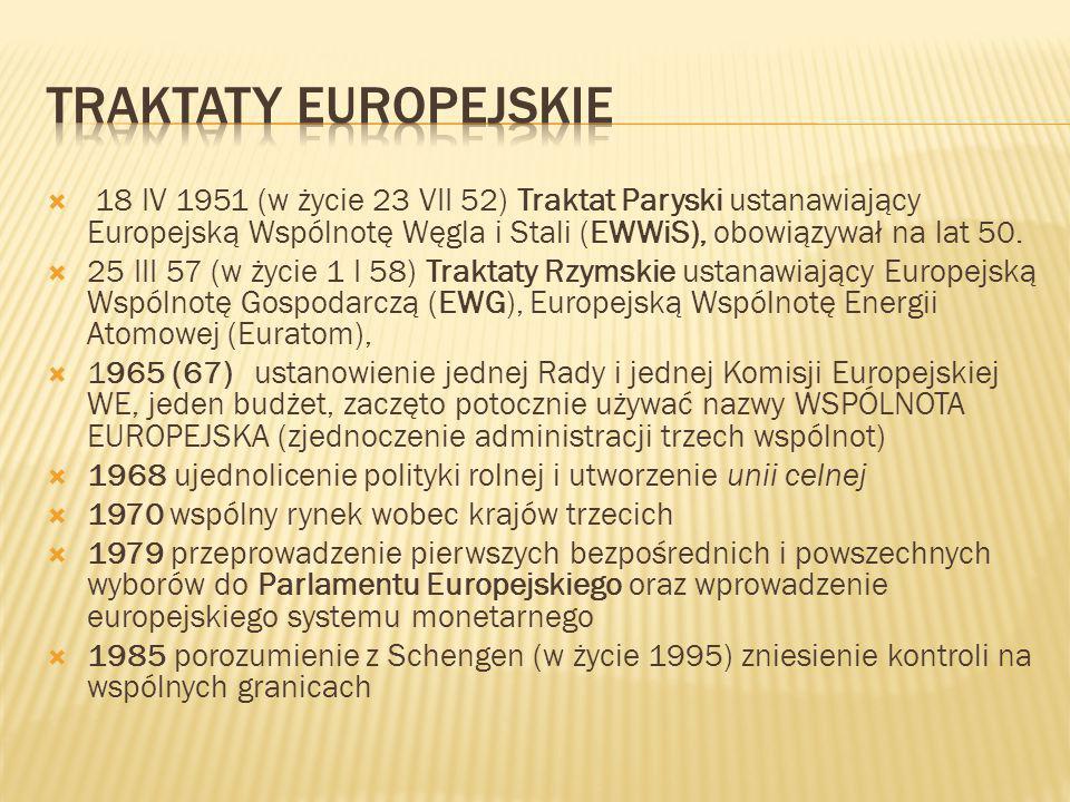 Traktaty Europejskie 18 IV 1951 (w życie 23 VII 52) Traktat Paryski ustanawiający Europejską Wspólnotę Węgla i Stali (EWWiS), obowiązywał na lat 50.