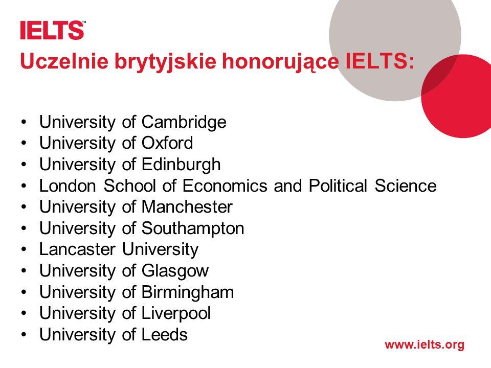 Uczelnie brytyjskie honorujące IELTS:
