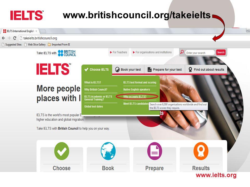 www.britishcouncil.org/takeielts Tak wygląda strona główna.