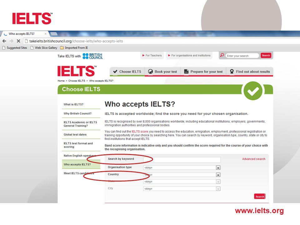 http://takeielts.britishcouncil.org/choose-ielts/who-accepts-ielts Wyszukanie uczelni jest możliwe na dwa sposoby: