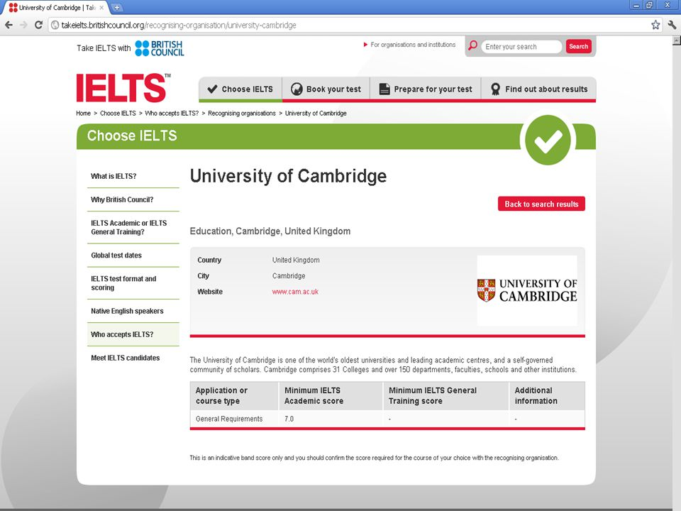 Minimum Academic Band Score dla Uni of Cambridge – 7.0.