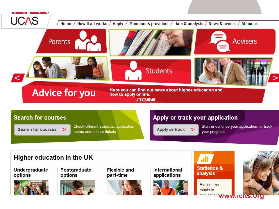Aby ubiegać się o miejsca na uczelniach w Wielkiej Brytanii, należy zaprzyjaźnic się z UCAS, ponieważ aplikowanie odbywa się przez stronę internetową tej organizacji: www.ucas.com