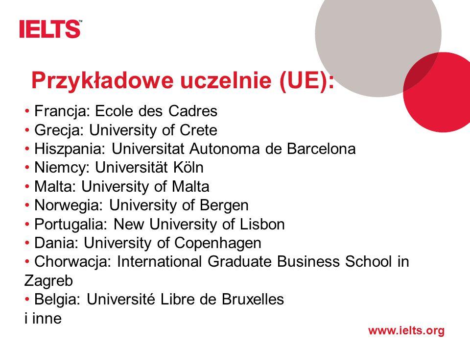 Przykładowe uczelnie (UE):