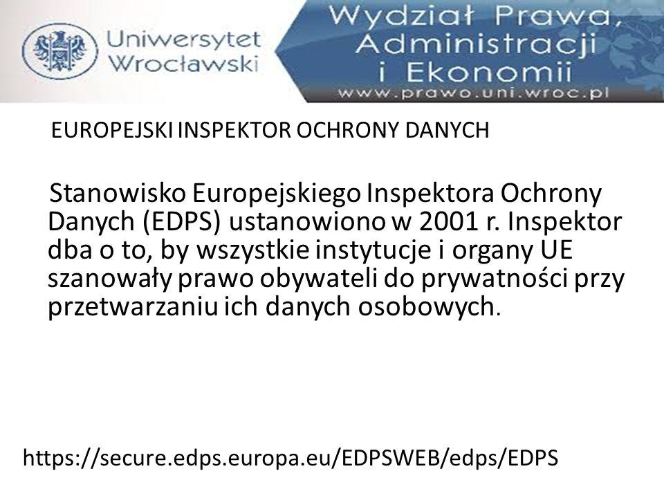 EUROPEJSKI INSPEKTOR OCHRONY DANYCH