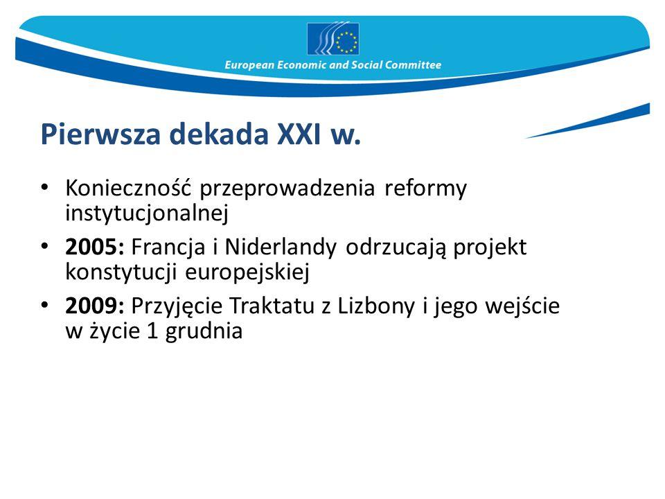Pierwsza dekada XXI w. Konieczność przeprowadzenia reformy instytucjonalnej. 2005: Francja i Niderlandy odrzucają projekt konstytucji europejskiej.
