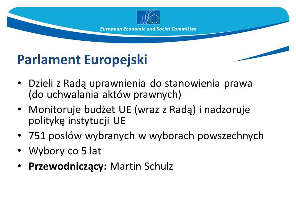 Parlament Europejski Dzieli z Radą uprawnienia do stanowienia prawa (do uchwalania aktów prawnych)